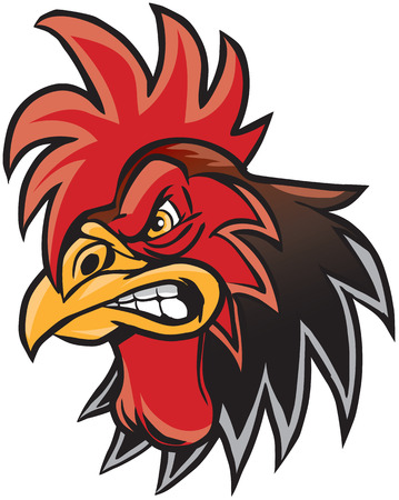 Vector cartoon clip art illustration of a rooster or gamecock or chanticleer mascot head.