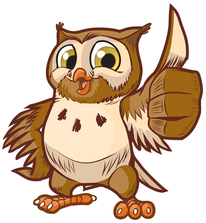 Illustration pour Vector cartoon clip art illustration of a cute and happy owl mascot giving the thumbs up hand gesture. - image libre de droit