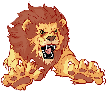 Illustration pour Vector cartoon clip art illustration of a roaring lion leaping or jumping forward toward the viewer with its claws out. - image libre de droit
