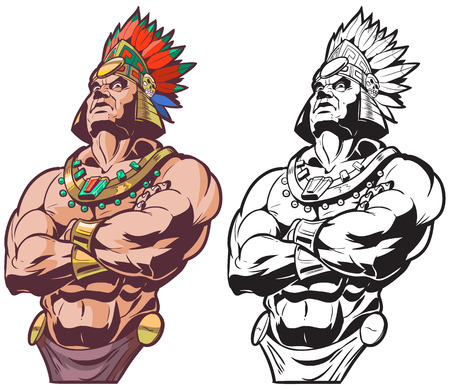 Illustration pour Vector cartoon clip art illustration bust of an Inca or Mayan or Aztec warrior or chief mascot looking tough and mean with crossed arms, in color and black and white. - image libre de droit