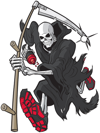 Illustration pour Vector cartoon clip art illustration of a Grim Reaper or Angel of Death running forward toward the viewer with a scythe, athletic shoes and a water bottle. Accessories are on separate layer. - image libre de droit