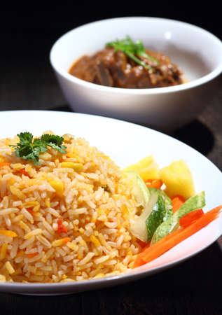 Nasi Briyani is a wholesome rice-based dish prepared with spices, rice, meat and vegetables.