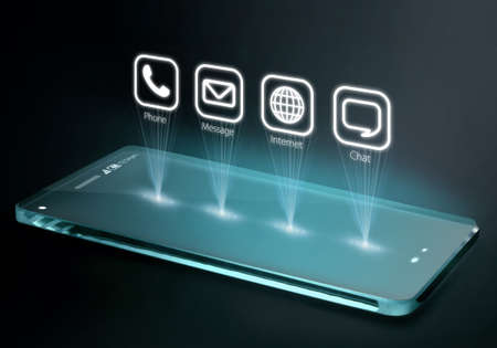 Transparent smartphone with apps on three dimensional screen. A 3D phone is a mobile phone that conveys depth perception to the viewer by employing stereoscopy or any other form of 3D depth techniques.