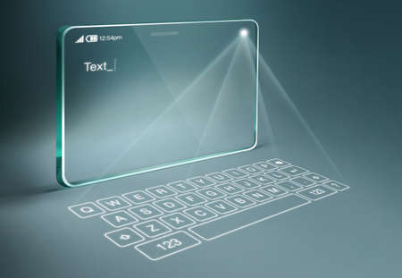 Transparent tablet with digital virtual keyboard. A projection keyboard is a form of computer input device whereby the image of a virtual keyboard is projected onto a surface.