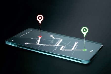 Map and navigation icons on transparent smartphone screen. GPS or Global Positioning System is a network of orbiting satellites that send precise details of their position in space back to earth.