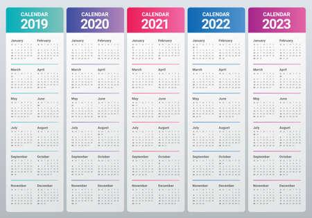 Ilustración de Year 2019 2020 2021 2022 2023 calendar vector design template, simple and clean design - Imagen libre de derechos