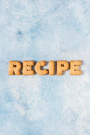 Foto de Crackers Arranged as a Word Recipe, copy space for your text - Imagen libre de derechos