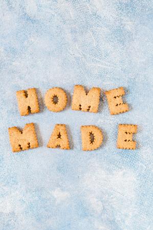 Foto de Crackers Arranged as a Word Homemade, copy space for your text - Imagen libre de derechos