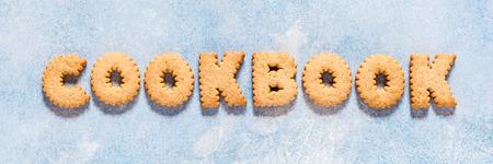 Foto de Crackers Arranged as a Word Cookbook, banner - Imagen libre de derechos