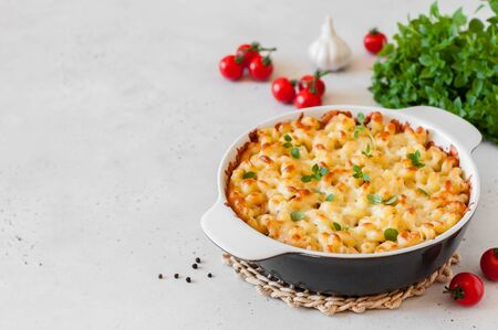 Photo pour Pasta and Cheese Bake, copy space for your text - image libre de droit