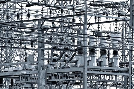 Photo pour Power plant - transformation station. Multitude of cables and wires.  - image libre de droit