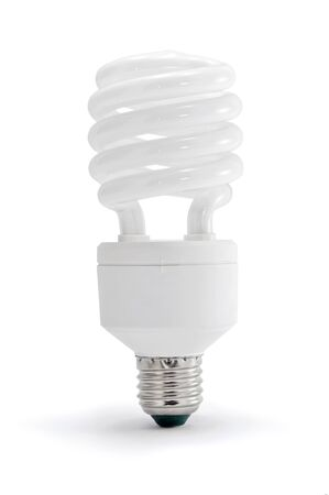 Energy saving lamp on white background.