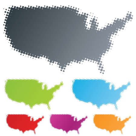 Vector illustration of differently colored design elements in the shape of the USA continent in the halftone technique.
