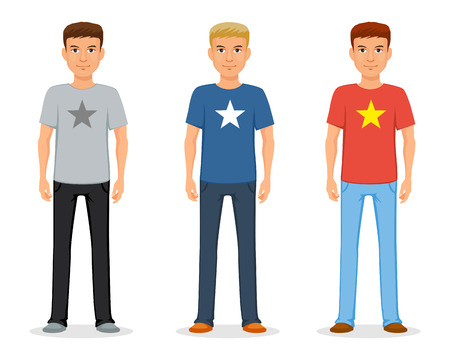 Illustration pour A young man in jeans and a t-shirt with a star. Casual fashion. Vector - image libre de droit