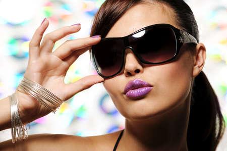 portrait of  beautiful glamour girl with sunglasses - fashion stylish