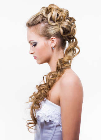 Young brife with beauty wedding hairstyle, profile - isolated on white