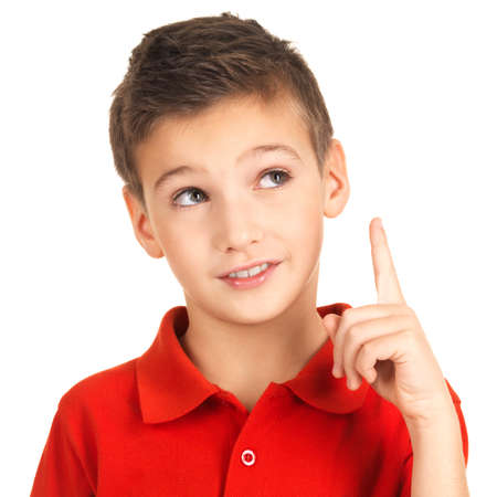 Portrait of cheerful boy with good idea -  isolated over white background