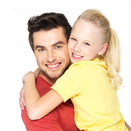 Portrait of the happy young father with pretty daughter -  isolated on white background