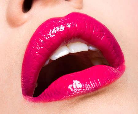 Closeup photo of a  beautiful sexy red lips