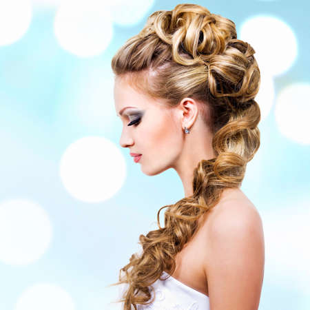 Woman with wedding hairstyle -  profile portrait
