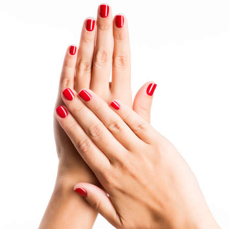 Photo for Closeup photo of a beautiful female hands with red nails isolated on white background - Royalty Free Image