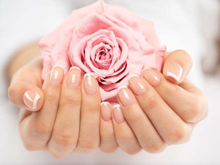Photo for Woman gets manicure procedure in a spa salon. Beautiful female hands. Hand care. Woman cares for the nails on hands. Beauty treatment with skin of hand.   Woman's hands close-up view. - Royalty Free Image