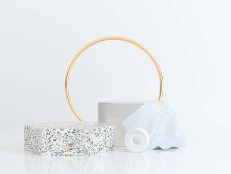 Photo pour circle gold white scene geometric shape 3d rendering marble gold clear - image libre de droit