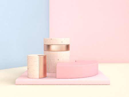Photo pour abstract scene 3d rendering blue pink wall geometric shape set - image libre de droit