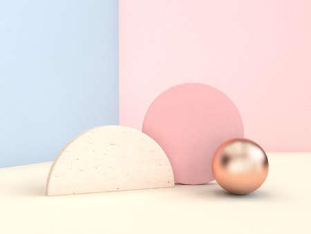 Photo pour geometric shape minimal pastel scene 3d rendering blue pink wall - image libre de droit
