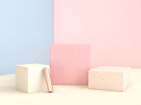 Photo for blue pink wall geometric shape set abstract scene 3d rendering - Royalty Free Image