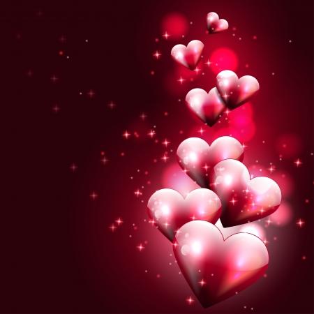 Ilustración de Flying hearts on dark background  - Imagen libre de derechos