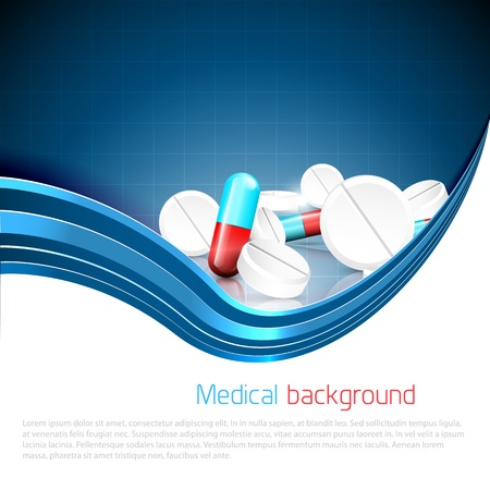 Blue medical background with spilled pills and tablets and copyspace