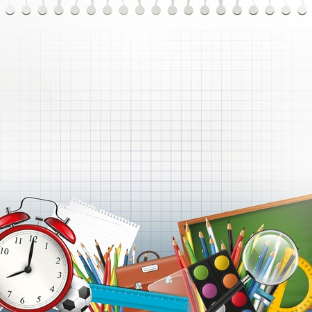 School supplies on white paper with copyspace