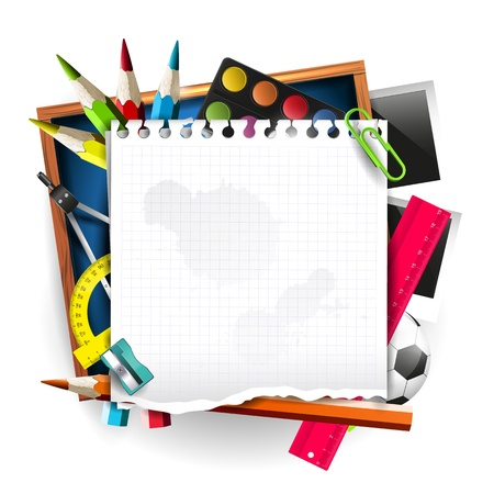 School supplies with empty paper on isolated background