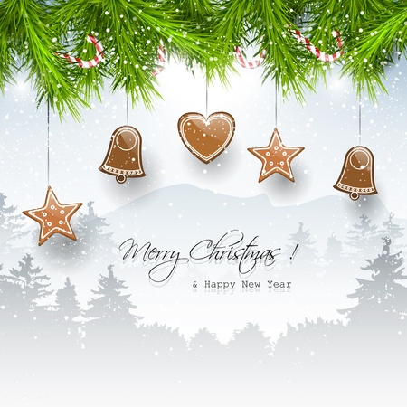 Christmas background with gingerbreads and place for text
