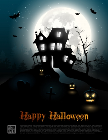 Halloween poster with scary house in the woods