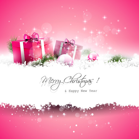 Illustration pour Pink Christmas greeting card with gift boxes and branches in snow and with place for text - image libre de droit