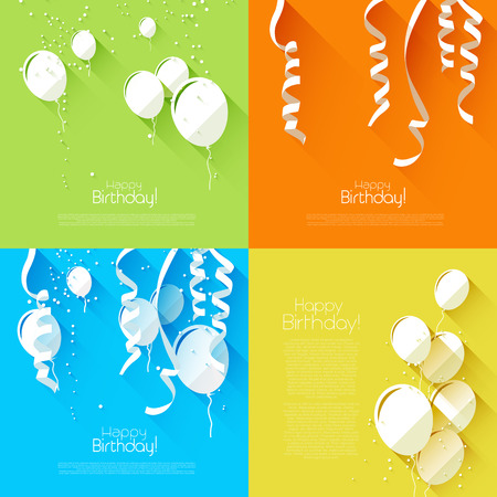 Vector set of flat style birthday backgrounds with balloons and confetti