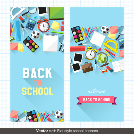 Vector set: Flat style back to school banners