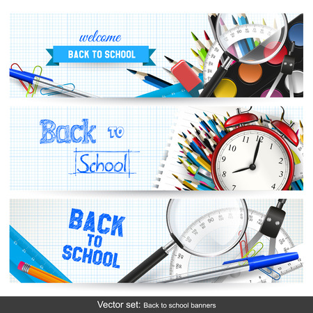 Foto de Vector set of three back to school banners - Imagen libre de derechos