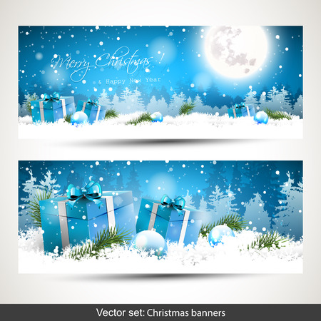 Ilustración de Set of two horizontal Christmas banners with gift boxes in the snow and snowy landscape on the background - Imagen libre de derechos