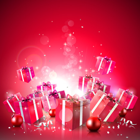 Illustration pour Luxury Christmas background with red gift boxes and baubles - image libre de droit