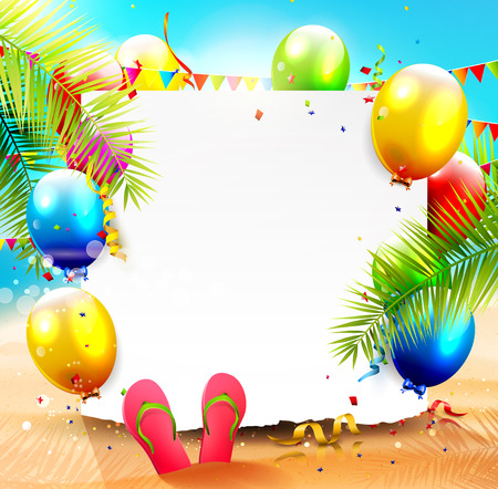 Summer beach party background with empty paper and colorful balloons on the beach