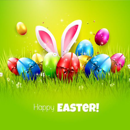 Easter greeting card with colorful eggs on green background