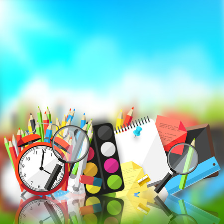Illustration pour Back to school - Vector background with school supplies and place for text - image libre de droit