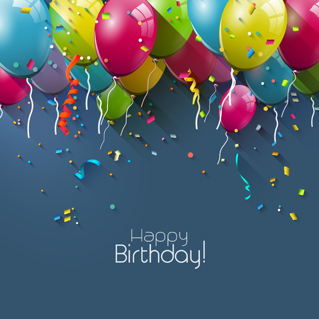 Birthday greeting card with colorful balloons and place for your text