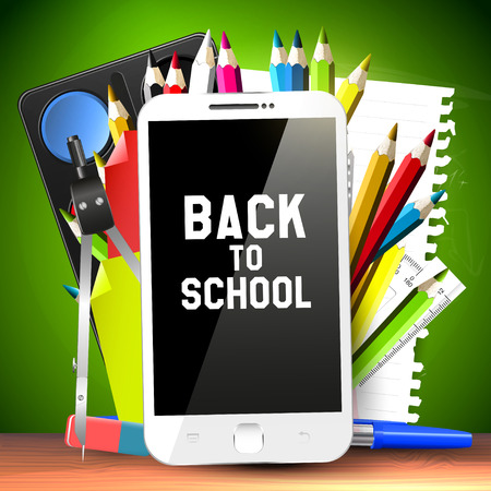 Illustration pour School supplies and smartphone - Back To School Concept - image libre de droit