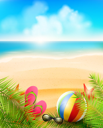 Illustration for Seaside view on beautiful sunny beach with palm leaves, beach ball, sunglasses and flip-flops - vector background - Royalty Free Image