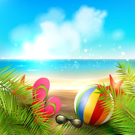 Illustration pour Seaside view on beautiful sunny beach with palm leaves, beach ball, sunglasses and flip-flops - vector background - image libre de droit