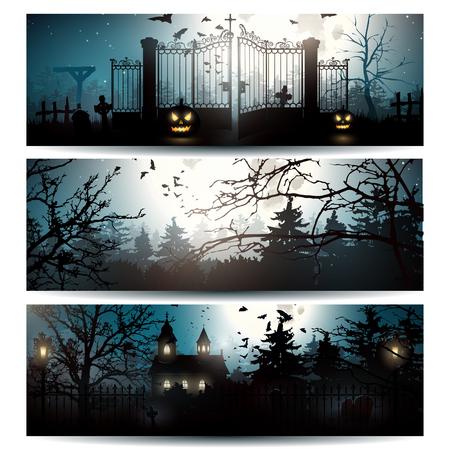 Illustration pour Vector set of three Halloween horizontal banners - image libre de droit